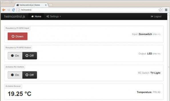 Heimcontrol.js: Die Steuerung erfolgt über dieses Webinterface. (Screenshot: Heimcontrol.js)