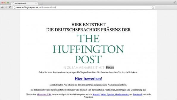 Noch ist auf huffingtonpost.de nicht viel zu sehen. (Screenshot: huffingtonpost.de)