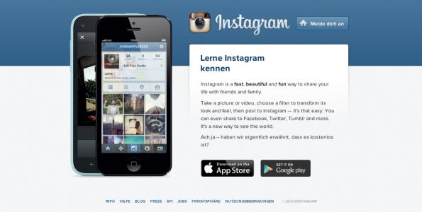 Instagram wächst weiter: 150 Millionen Nutzer soll die Foto-App inzwischen haben. (Screenshot: Instagram.com)