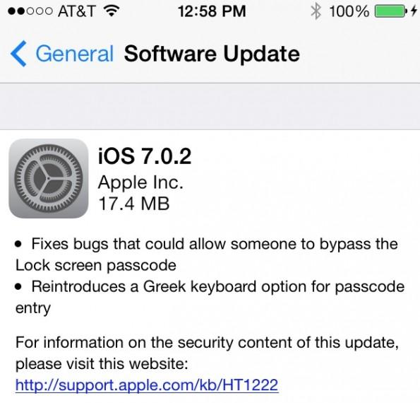 Das neue Update 7.0.2 behebt die Sicherheitslücke zur Umgehung der Codesperre im Lockscreen. (Quelle: MacRumors.com)