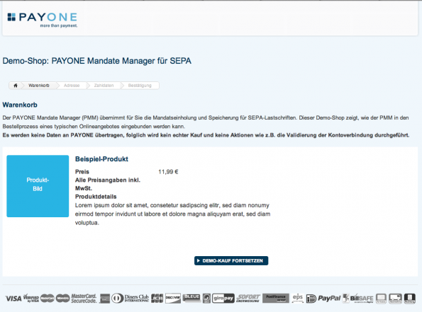 Ein SEPA-Demoshop von Payone. (Screenshot: Payone)