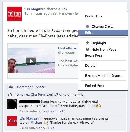 In diesem Kontextmenü finden Facebook-Nutzer jetzt auch die Editieren-Funktion.