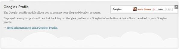 Eine neue Funktion im Jetpack ist die Verknüpfung mit dem Google+-Profil. Screenshot: Jetpack
