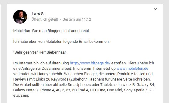 In diesem Google+-Post zeigt Blogger Lars Siebenhaar, wie er nicht von Unternehmen angesprochen werden möchte. (Screenshot: Google+)