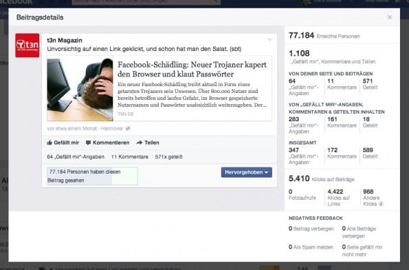Die detailliertere Ansicht der Beitragsmetriken. (Screenshot: facebook.com)