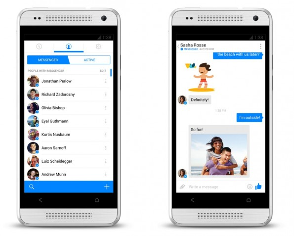 So sieht der neue Facebook-Messenger für Android aus. (Quelle: newsroom.fb.com)