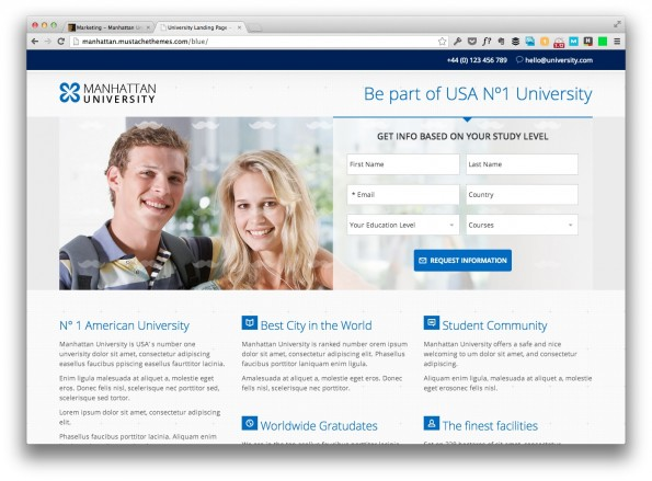 landingpage templates manhatten university
