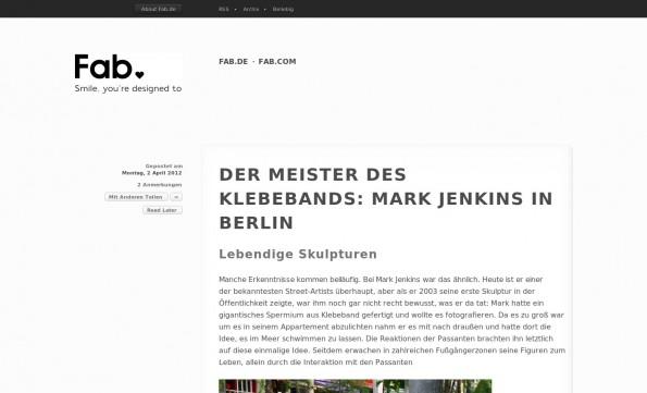 In seinem Blog spricht Fab mit Straßenkünstlern und Design-Koryphäen. Fashion-Trends gibt es ebenfalls zu sehen. (Screenshot: Fab)
