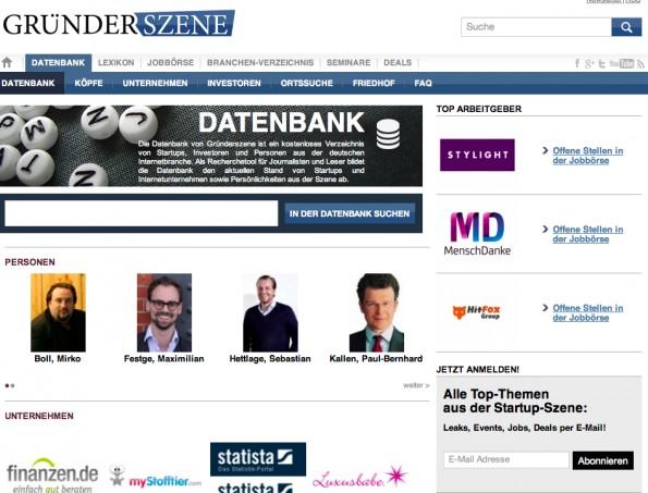 Das Gründerszene-Magazin hat eine große Reichweite. Startups sollten sich deshalb in die Datenbank eintragen lassen. (Screenshot: Gründerszene)