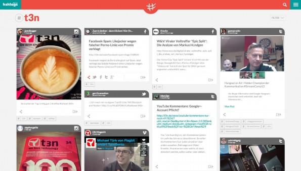 hshtags-Benutzeroberläche: Inhalte nach Plattformen auf einem Blick. (Screenshot: hshtag)