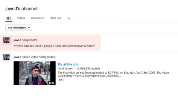 YouTube Mitgründer Jawed Karim ärgert sich über das Google-Kommentarsystem auf der Videoplattform. (Screenshot: YouTube-Channel Jawed Karim)
