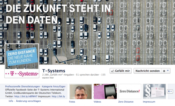 Facebook-Profil von T-Systems liefert viel Content zu aktuellen Branchenthemen. (Bild: T-Systems)