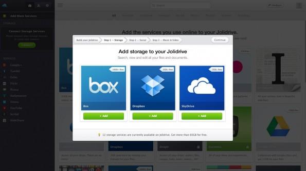 Jolidrive dient als gemeinsame Oberfläche für dutzende Cloud-Dienste. (Screenshot: Jolidrive)