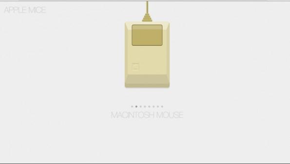 CSS-Demo veranschaulicht die Geschichte der Apple-Mäuse. (Screenshot: Codepen)