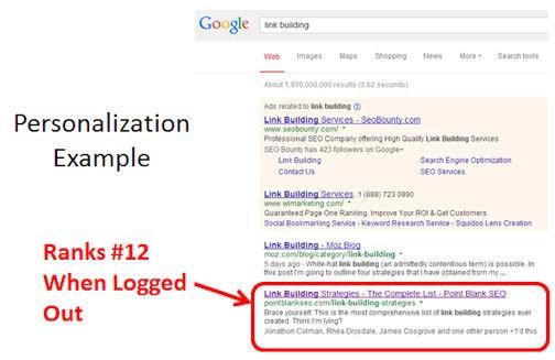 Das Suchergebnis zeigt den Link, der es durch Personalisierung und viele +1 auf Platz 2 der Suchergebnisse geschafft hat (Quelle: searchenginewatch.com)