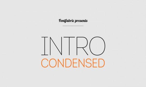 Intro Condensed Free ist ein schicker kostenloser Font, der sich vor allem für Headlines gut eignet. (Grafik Fontfabric)