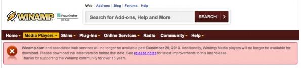 Nullsoft (bzw. AOL) verkündet das Ende von Winamp auf der eigenen Homepage. (Screenshot: winamp.com)
