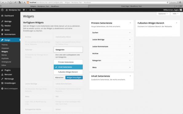 WordPress 3.8 Parker Widget Verwaltung
