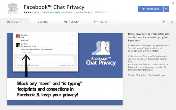 """Facebook-Chat-Privacy für Chrome unterdrückt den """"Gelesen""""-Status in Facebook-Chats."""