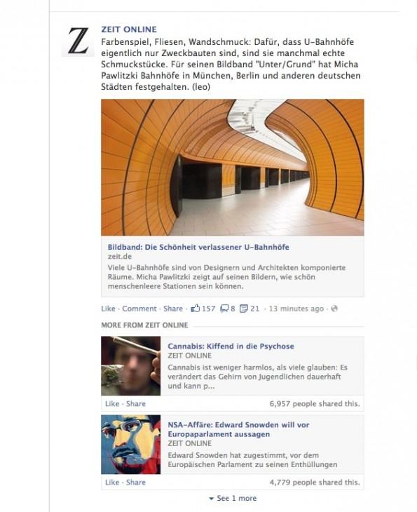 Facebook-Newsfeed-Updates: Zwei bis drei weitere Links zu Nachrichteninhalten werden künftig angezeigt. (Screenshot: Facebook)