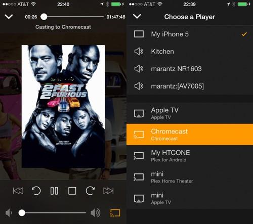 Plex: Die Mediacenter-Software für Android und iOS kann nun auch Inhalte an den Chromecast-Stick übertragen (Quelle: plexapp.com)