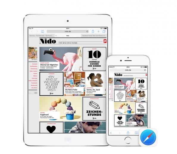 """Neu in iOS 8: Mit """"Handoff"""" könnt ihr auf eurem iPad surfen und dann mit dem gleichen Link auf dem iPhone weitermachen. (Bild: Apple)"""