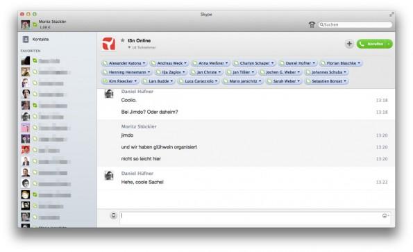Skype ist der primäre Messenger für die t3n-Redaktion. (Screenshot: Moritz Stückler)