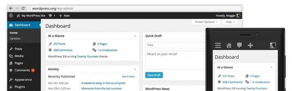 Die neue Admin-Oberfläche von WordPress 3.8: Deutlich flacher und mit verschiedenen Farbvarianten. (Quelle: wordpress.org)
