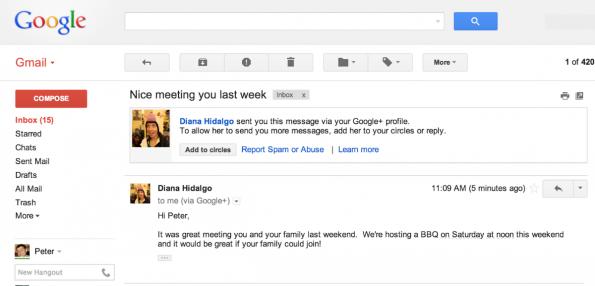 Nutzer können ab demnächst andere Nutzer auf Google+ über die normale Weboberfläche von Gmail anschreiben. (Screenshot: gmailblog.blogspot.de)
