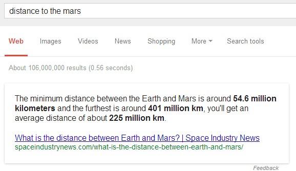 """Semantische Suche: """"Distance to mars?"""" (Screenshot: Google-Suche)"""