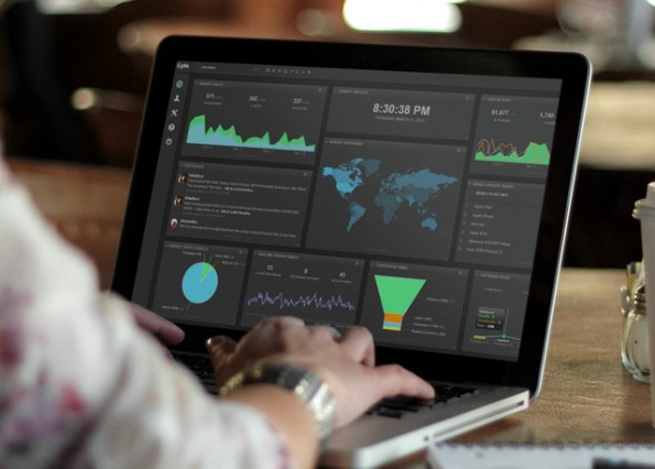"""Cyfe bezeichnet seinen Dienst als """"All-in-One""""-Lösung für KPI-Dashboards. Sie soll Marketer wie Startups gleichermaßen ansprechen. (Screenshot: Cyfe/PlaceIt)"""