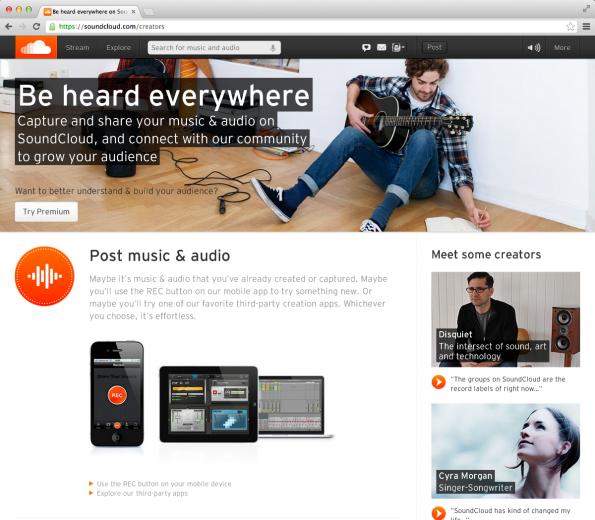 Die Musik-Plattform Soundcloud lässt private wie professionelle Künstler eigene Songs hochladen und vermarkten. (Screenshot: Soundcloud)