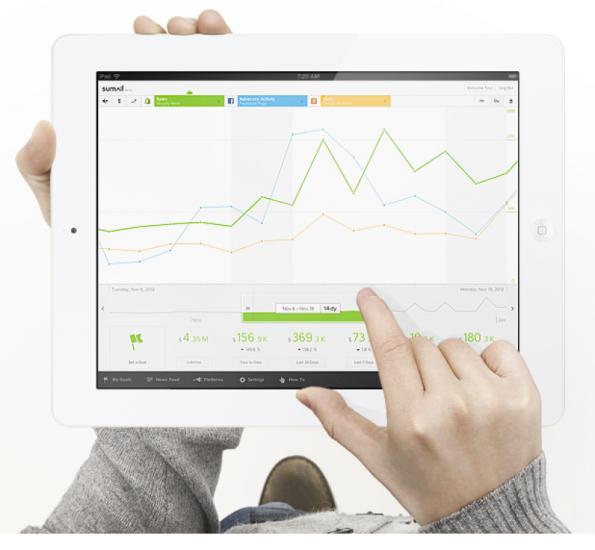 SumAll ist der wohl jüngste KPI-Dienst am Markt. Aktuell ist er noch in der Betaphase und kostenlos nutzbar. (Screenshot: SumAll)