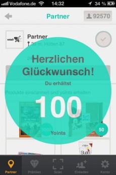 So könnte das Sammeln von Bonuspunkten mittels iBeacon und der Yoints-App aussehen. (Quelle: yoints.com)