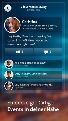 Circle-Nutzer können sich gegenseitig auf Ereignisse in der Umgebung aufmerksam machen. (Screenshot: Circle)