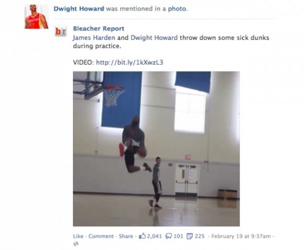 Funktionserweiterung Facebook-Newsfeed: Beispiel anhand von Dwight Howard via Bleacher Report. (Screenshot: Facebook)