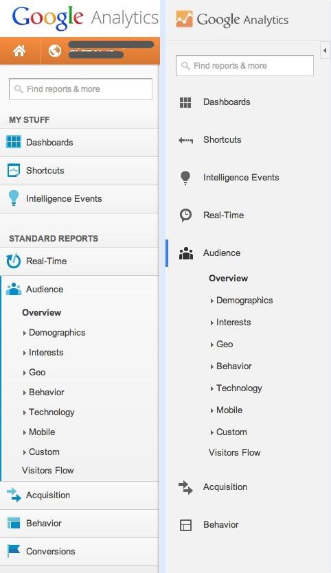 Vorher-/ Nachher-Vergleich der Navigation von Google Anyltics. (Screenshot: Google.com)