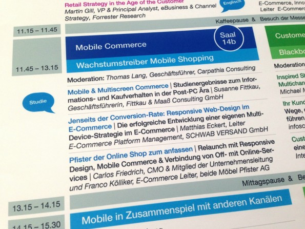 Das Programm des Mobile-Commerce-Panels auf dem Internet World Kongress. (Foto: t3n)