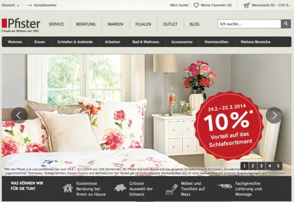 Das Möbelhaus Pfister gehört seit Langem zu den E-Commerce-Pionieren in der Schweiz. (Screenshot: t3n)