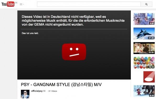 """YouTube-Sperrtafeln: """"Dieses Video ist in Deutschland leider nicht verfügbar"""" ist rechtswidrig. (Screenshot: YouTube)"""