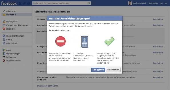 Zwei-Faktor-Authentifizierung einrichten: Facebook