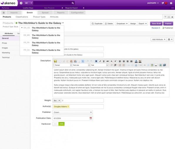 Beispiel für Produktpflege in mehreren Sprachen mit Akeneo (Screenshot Akeneo)