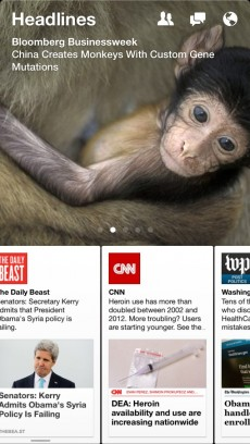 """Die neue Facebook-App """"Paper"""" setzt auf ein horizontales Bedienkonzept. (Screenshots: t3n)"""