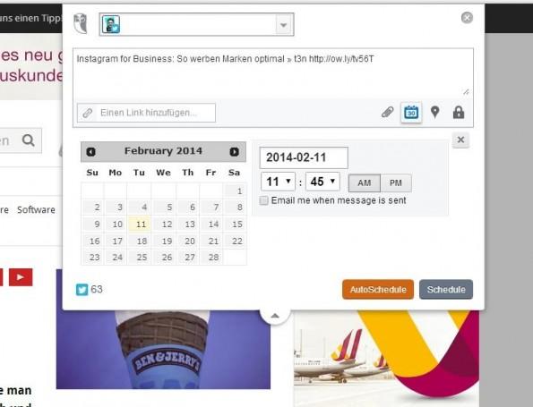 Social-Media-Tools wie Hootsuite lassen den Tag im Voraus planen - in 5 Minuten. (Screenshot: Hootsuite)