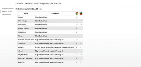 Werbeblocker: United-Internet-Seite wird als Browser-Seite getarnt. (Screenshot: browsersicherheit.info)