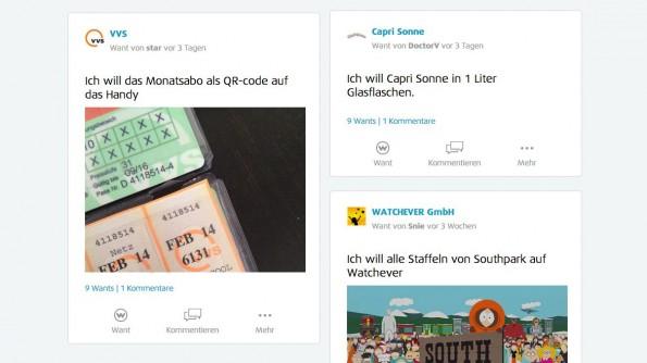 WeWant: Firmen sollen auch Umfragen durchführen können. (Screenshot: WeWant)