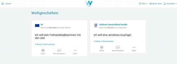 WeWant: Nicht alle Nutzerwünsche dürften zu einer direkten Reaktion führen. (Screenshot: WeWant)