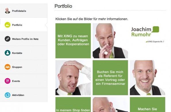 """Der selbsternannte """"Xing-Experte Nr. 1"""" Joachim Rumohr setzt in seinem Nutzerprofil auf das sogenannte Portfolio. (Screenshot: t3n)"""
