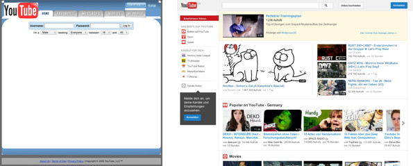 Links das Design von YouTube 2005, rechts das Aktuelle. (Screenshot: Wayback Machine und YouTube)