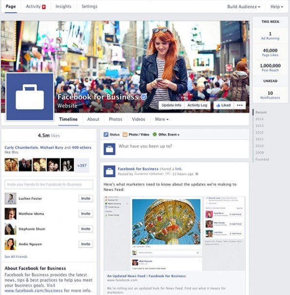 Neues Design für Facebook-Pages. (Screenshot: Facebook)